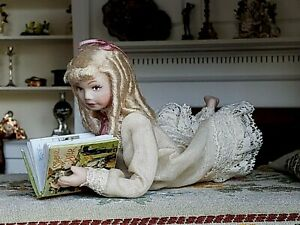 Dollhouse Miniature Artisan Porcelain Young Girl Doll Reading Book 1:12