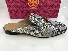 Tory Burch Amelia Backless Loafer Size 9.5 Snake Printed Leather Warm Roccia NEW