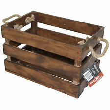 Wooden Slatted Crates Vintage Farm Shop Style Apple Display Rustic Storage Boxes 1x Medium Crate