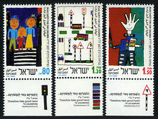 Israel 1167-1169 tabs, MNH. Road Safety. Paintings by children, 1993
