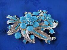 Huge Silver Tone Aqua Blue Crystal Resin Floral Brooch