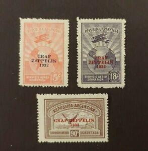 1932 GRAF ZEPPELIN 3 STAMPS VF MLH ARGENTINA ARGENTINIË WK1.1 START $0.99