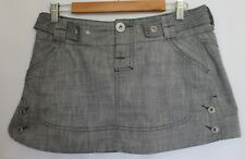 DIESEL ~ Grey Cotton Blend Denim Mini Skirt w Silvertone Buttons 30 12