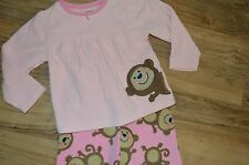 Girl's Carter's Fleece Shirt & Pants 2 Piece Pajamas Set ~ Monkeys ~ Pink ~ 2T