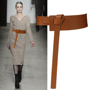 Genuine Leather Waist Belt Wrap Around Self Tie Obi Cinch Waistband Boho Belt