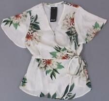 Nasty Gal IVIVI Women's All Together Now Floral Blouse SD8 White Small NWT