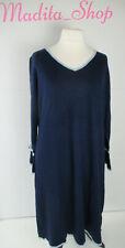 🌸Damen Kleid Strickkleid Herbstkleid 52 Blau Marine langarm Glockenärmel Sheego