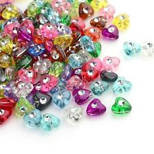 50 Acrylic Heart Beads Rhinestone Beads Assorted Lot BULK Beads Wholesale