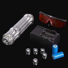 Military 405nm Blue Laser Pointer Pen Box Power Beam Burn Cigarette + Glasses