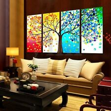 4Pcs Four Seasons Tree Canvas Print Painting Unframed Picture Home Wall Decor
