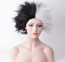 101 Dalmatians Cruella De Vil Fluffy White Black Mixed Short Cosplay Costume Wig
