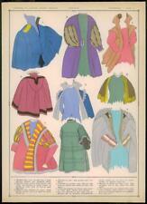 C1920 antica stampa MODA FRANCESE DONNA MANTEAUX Cappotti Mantello Wrap (028)