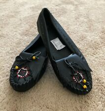 Women's Leather Upper Beaded Moccasin Boat Shoes 10M Black New