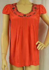 Rockmans Coral Embellished Neck Cap Sleeve Viscose Tunic Top Size 10 BNWOT # Z20