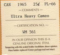 * ICCS PL66 PL-66 1965 Canada 25 Cents 25c Quarter UHC Ultra Heavy Cameo Toned *