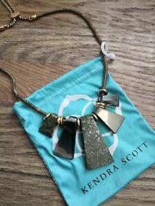 Kendra Scott Rhodes Green Brown Stone Rose Gold Plated Brass Statement Necklace