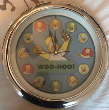 The Simpsons Homer Retro Wall Clock 2004 Woo-Hoo Chrome Rim- Marge, Duff, Fox
