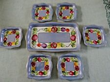 Vintage Noritake Lusterware Blue Fruit Dessert set (7) Pieces Art Deco Japan