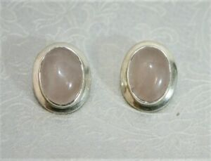 Attractive Sterling Silver and Rose Quartz Clip-On Earrings - Thames Hospice