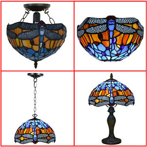 Beautiful Dragonfly Stained Glass Tiffany Style Table/Pendant/Ceiling/Wall Lamp
