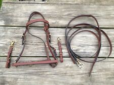 Brown leather Australian / Western combination trail bridle/halter