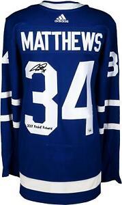 "Auston Matthews Maple Leafs Signed Blue Jersey & ""2021 Rocket Richard"" Insc"