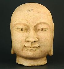 """! Antique FINE Chinese Carved Pink Granite Stone Head of Buddha 9"""""""