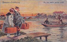 AK Künstler Arthur Thiele Hamster-Erlebnisse Paar mit Koffer Boot Postkarte