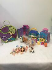 Polly Pocket Lot Stable Pet Shop Holding Case Dolls Horses Dogs