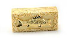 Vintage Chinese Bone FISH Sealife Hand Carved Rectangular Treasure Jewelry Box