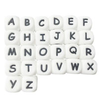 100Pc/Bag Silicone Letter Beads For Insert Name On Pacifier Chain Clips 12M S1A9