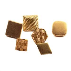 Lot (6) Vintage German brass metal geometric tiny dimi doll buttons