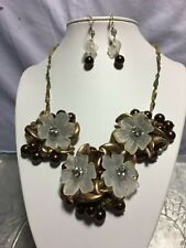Coldwater Creek Necklace Earrings Set Faux Gold Bronze Brn Pearls Lucite Flowers