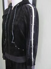 Bebe Sport  Womens BLACK Velour Sweat Pants Hoodie Track Suit Size  M L