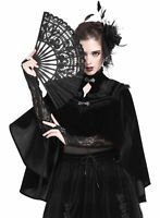Dark In Love Womens Gothic Hand Held Folding Fan Black Lace VTG Lolita Steampunk