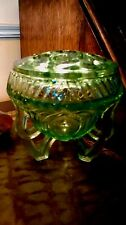 Three footed Green Glass Posy Bowl  Art Deco