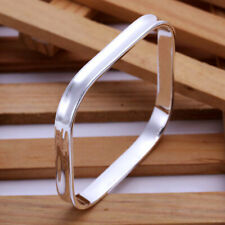 925 Silver Plated SQUARE Bangle -UK SELLER-