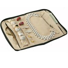 Leather Jewelry Travel Case, Two Zippered Pockets for Necklaces Rings Earrings