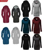 Women's Casual Zip Up Hoodies Coat Pocket Tunic Sweatshirt Long Outerwear Jacket