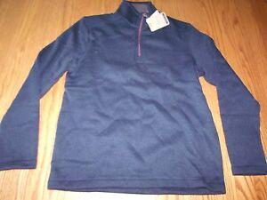 Nwt Mens G.H. Bass & Co Midnight Sweater Button Blue 1/4 ZIP Collar Medium M