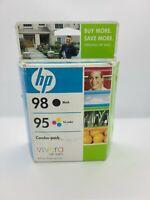 Genuine HP 98 95 Ink Cartridges  Combo Pack  Black Tri Color Exp September 2010
