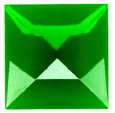 25mm Dark Green square faceted glass jewel flat back