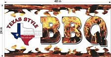 2' X 4' Vinyl Banner Texas Style Barbecue Bbq Horizontal New Design!