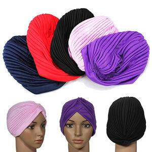 Stretchy Ladies Chemo Plain Turban Indian Cloche Trendy Fashion Pleated Headwrap