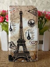 3 Color La Tour Eiffel Leather Pouch Flip Case for Apple Samsung HTC Sony Phones