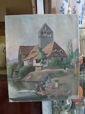"""huile sur toile """"Les lavandières au bord de la rivière""""  51,2 x 42,7 cm"""