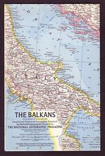1960s Original Old Vintage Paper Wall Map of The Balkans Europe Balkan Peninsula