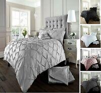 100% Egyptian Cotton 200TC Pintuck Duvet Cover with Pillowcase Bedding Set