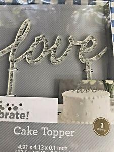 Love Wedding Cake Topper- Acrylic Silver Rhinestone - Anniversary, Engagement