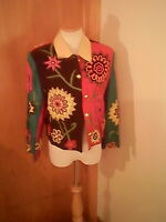Anage brand women's multi - color blazer, M, rayon, floral , embroidery, beads